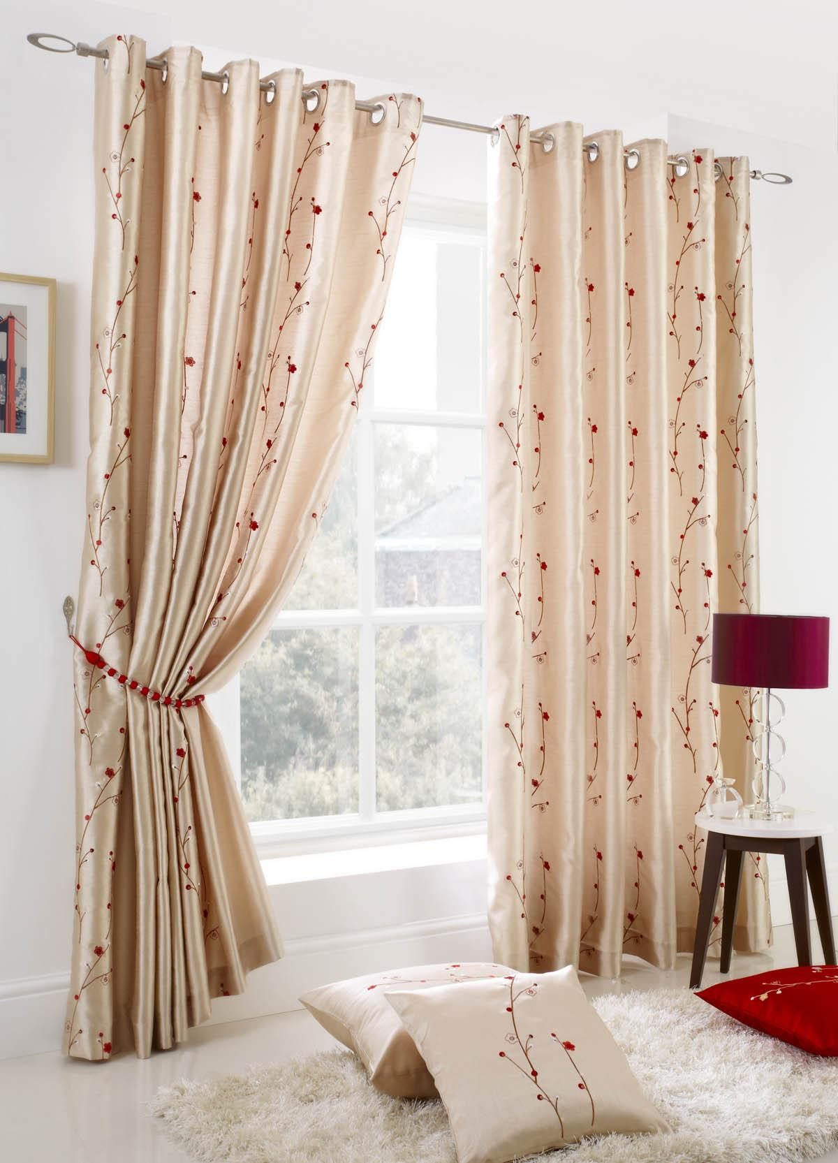 Stockists of Cream Blossom Ready Made Lined Eyelet Curtains