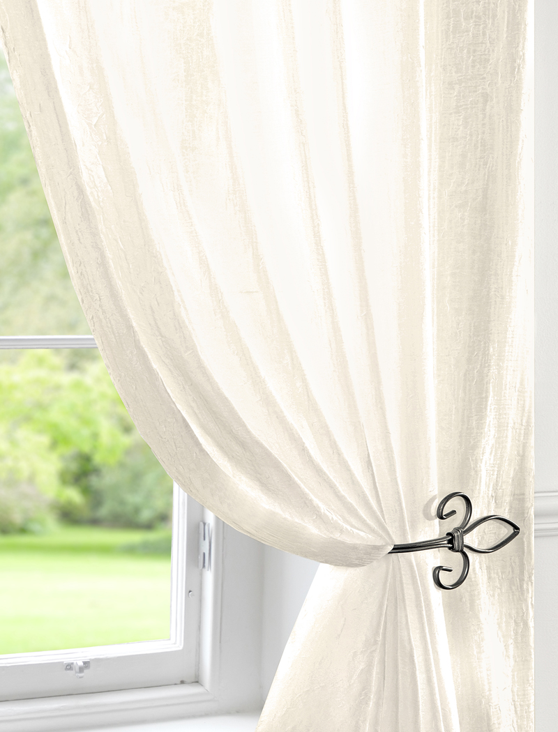 Stockists of Cream Crushed Double Width Voile Curtain Panel