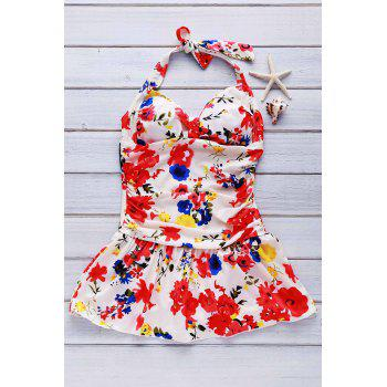 Bargain Cute Floral Print Halter One Piece Swimsuit For Women Stockists