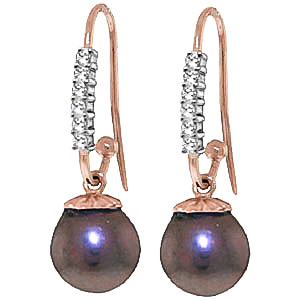 Bargain Diamond and Black Pearl Drop Earrings in 9ct Rose Gold Stockists