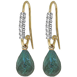 Bargain Diamond and Emerald Laced Stem Drop Earrings in 9ct Gold Stockists