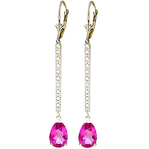 Bargain Diamond and Pink Topaz Bar Drop Earrings in 9ct White Gold Stockists