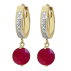 Bargain Diamond and Ruby Huggie Earrings in 9ct Gold Stockists