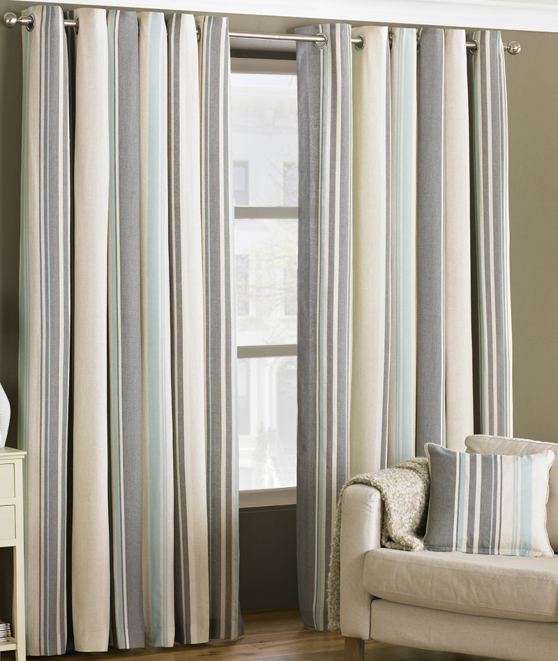 Stockists of Duck Egg Blue Broadway Readymade Lined Eyelet Curtains