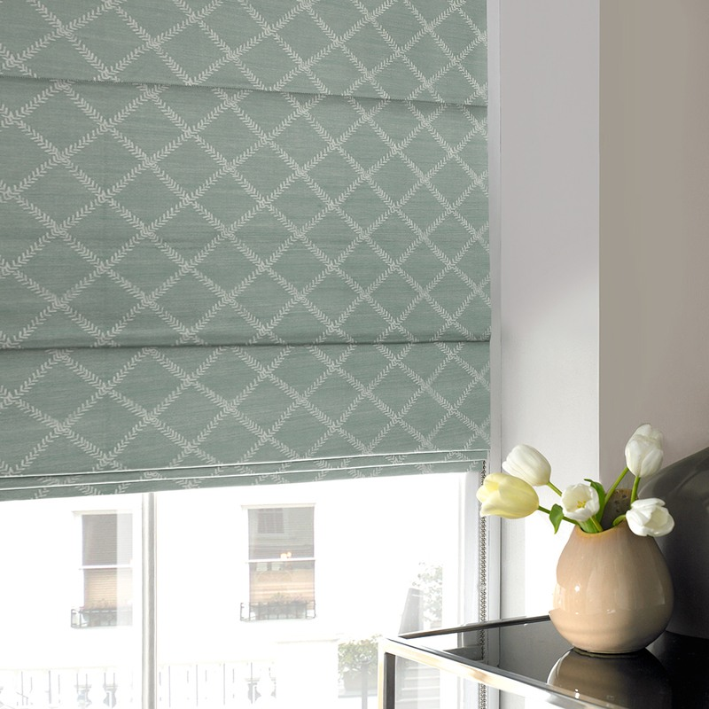Stockists of Duck Egg Leah Roman Blind