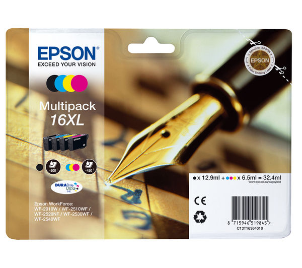 Bargain EPSON Pen & Crossword T1636 XL Cyan, Magenta, Yellow & Black Ink Cartridge - Multipack Stockists
