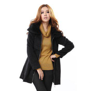 Bargain Elegant Style Faux Fur Splicing Lapel Long Sleeve Cotton Blend Worsted Women's Pleated Coat Stockists