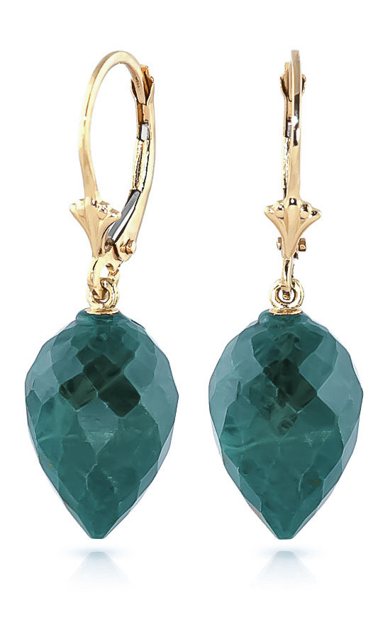 Bargain Emerald Briolette Drop Earrings 25.7ctw in 9ct Gold Stockists