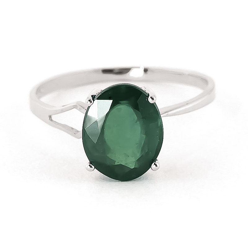 Bargain Emerald Claw Set Ring 2.9ct in 9ct White Gold Stockists