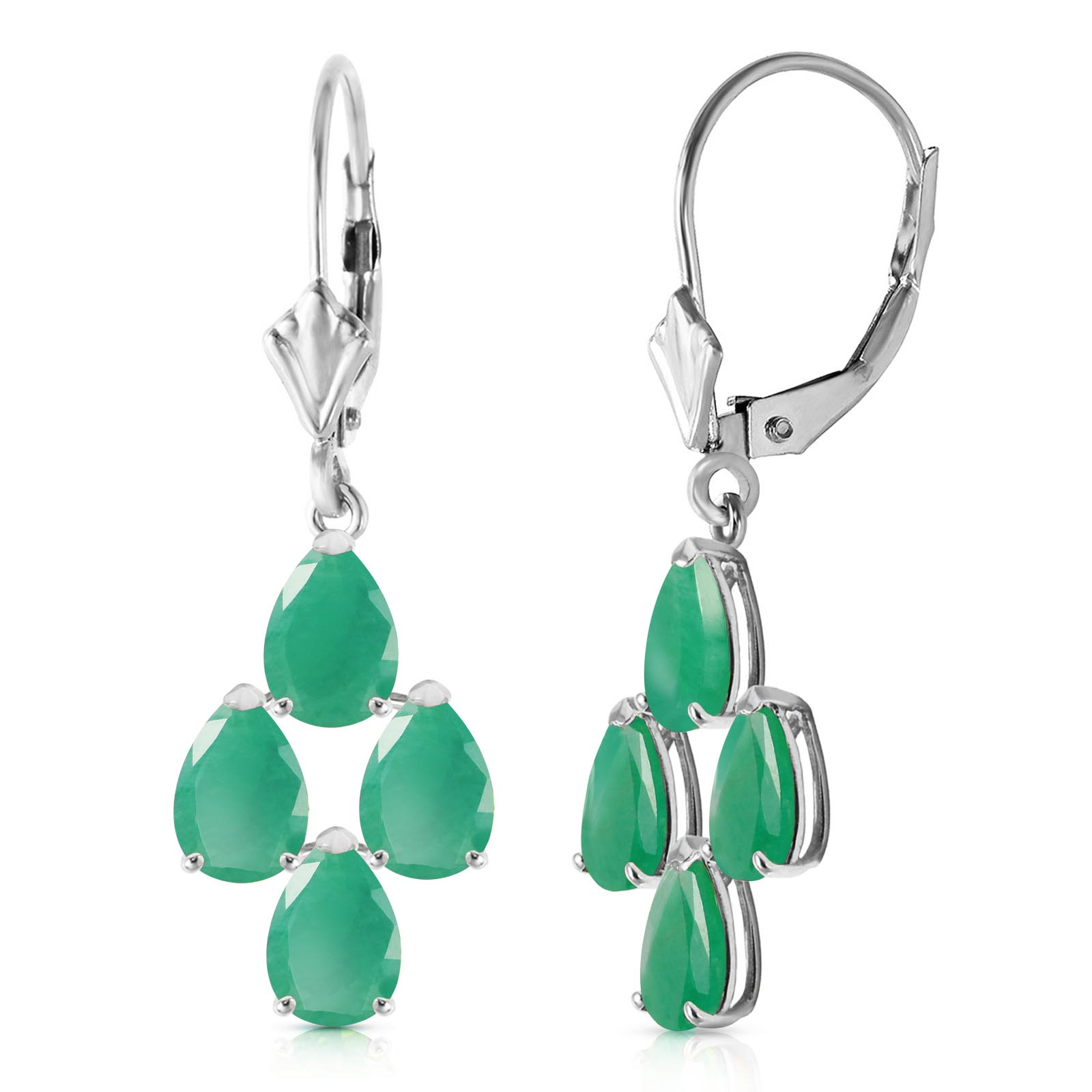 Bargain Emerald Drop Earrings 4.5ctw in 9ct White Gold Stockists