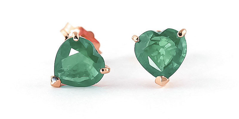 Bargain Emerald Heart Stud Earrings 2.4ctw in 9ct Rose Gold Stockists