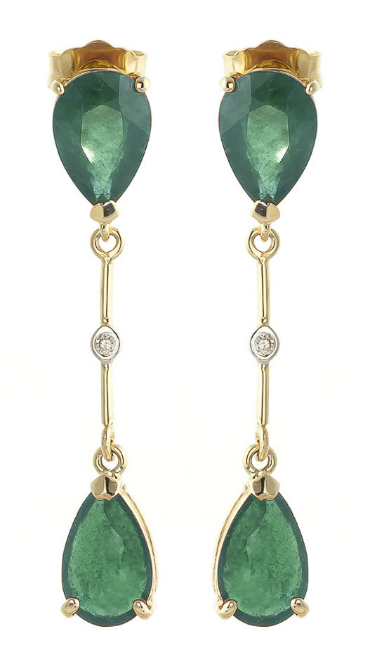 Bargain Emerald and Diamond Drop Earrings 15.0ctw in 9ct Gold Stockists