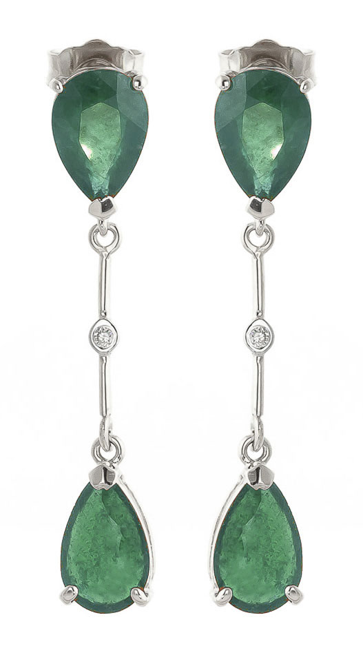 Bargain Emerald and Diamond Drop Earrings 15.0ctw in 9ct White Gold Stockists