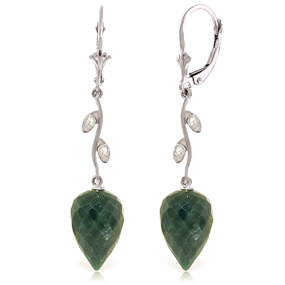 Bargain Emerald and Diamond Drop Earrings 25.7ctw in 9ct White Gold Stockists