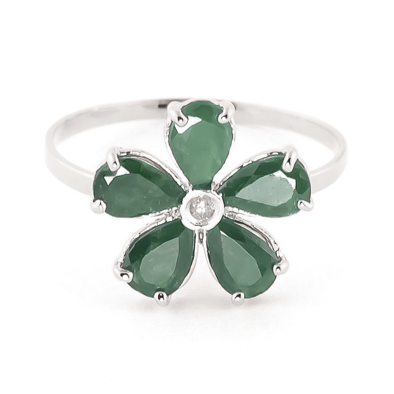 Bargain Emerald and Diamond Five Petal Ring 2.2ctw in 9ct White Gold Stockists