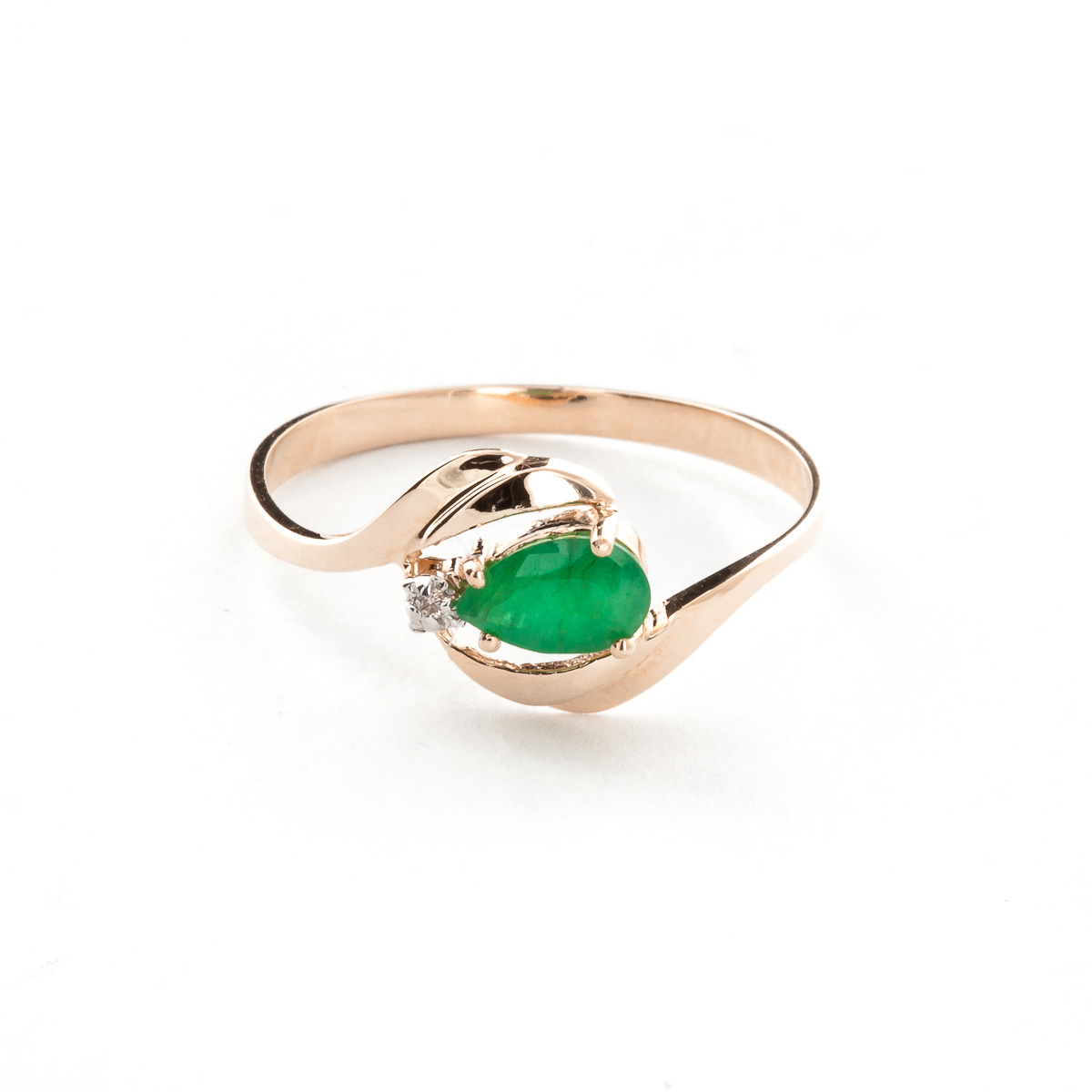 Bargain Emerald and Diamond Flare Ring 0.5ct in 9ct Rose Gold Stockists