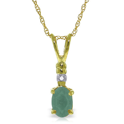 Bargain Emerald and Diamond Pendant Necklace 0.5ct in 9ct Gold Stockists