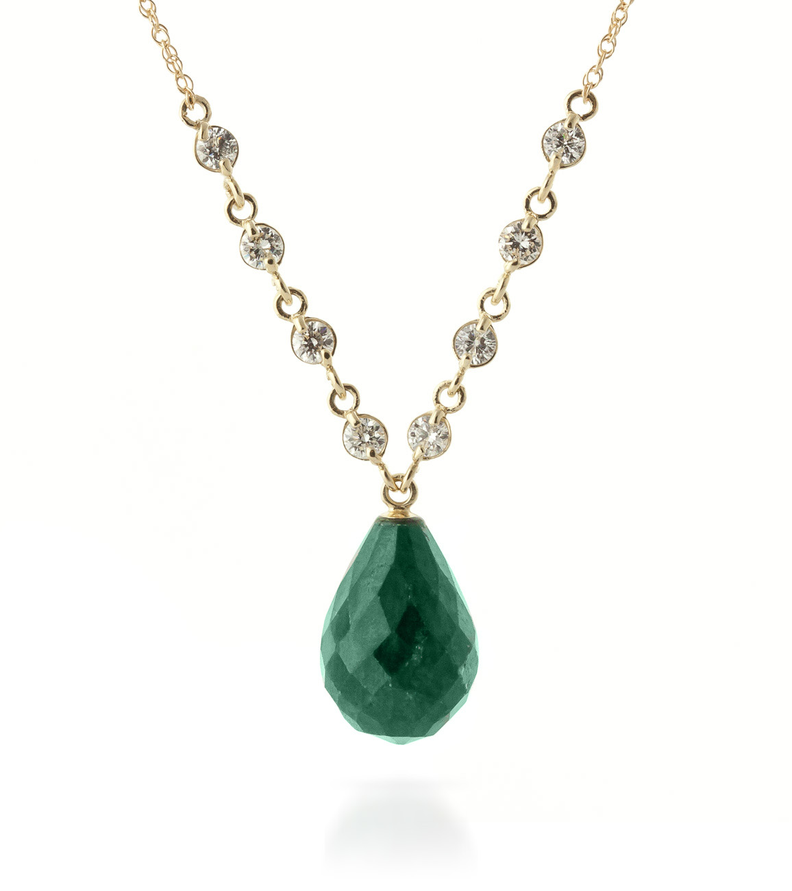Bargain Emerald and Diamond Pendant Necklace 14.8ct in 9ct Gold Stockists