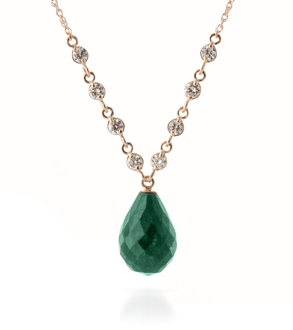 Bargain Emerald and Diamond Pendant Necklace 14.8ct in 9ct Rose Gold Stockists