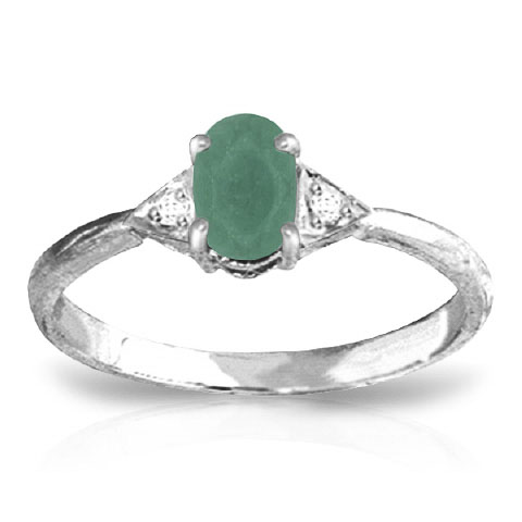 Bargain Emerald and Diamond Ring 0.5ct in 9ct White Gold Stockists