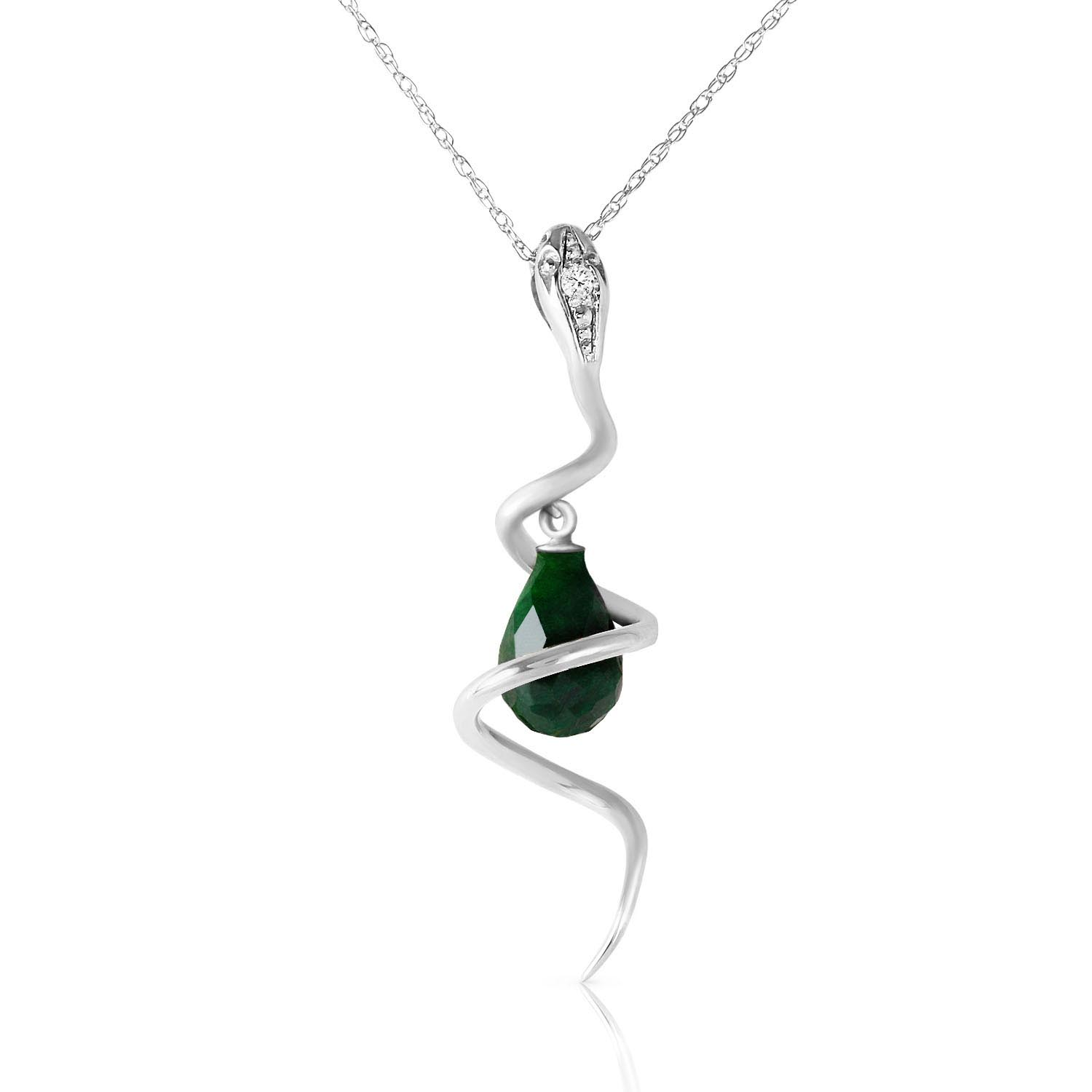 Bargain Emerald and Diamond Serpent Pendant Necklace 3.3ct in 9ct White Gold Stockists
