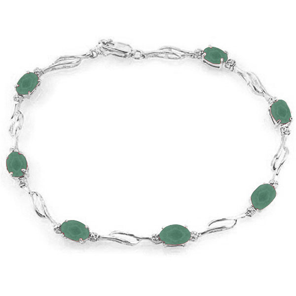 Bargain Emerald and Diamond Tennis Bracelet 3.5ctw in 9ct White Gold Stockists