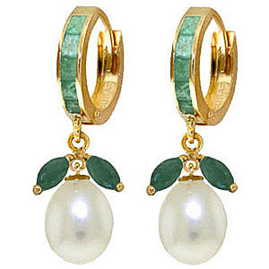 Bargain Emerald and Pearl Dewdrop Huggie Earrings 10.3ctw in 9ct Gold Stockists