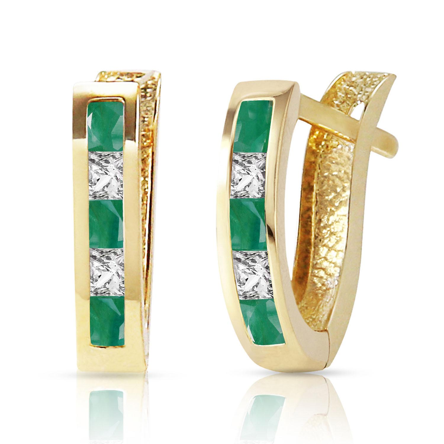 Bargain Emerald and White Topaz Acute Huggie Earrings 1.26ctw in 9ct Gold Stockists