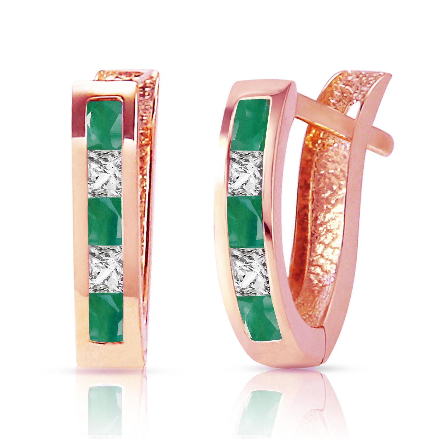 Bargain Emerald and White Topaz Acute Huggie Earrings 1.26ctw in 9ct Rose Gold Stockists