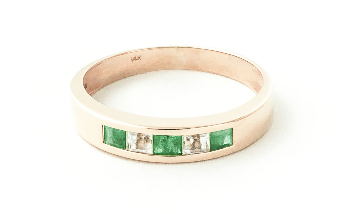 Bargain Emerald and White Topaz Ring 0.78ctw in 9ct Rose Gold Stockists