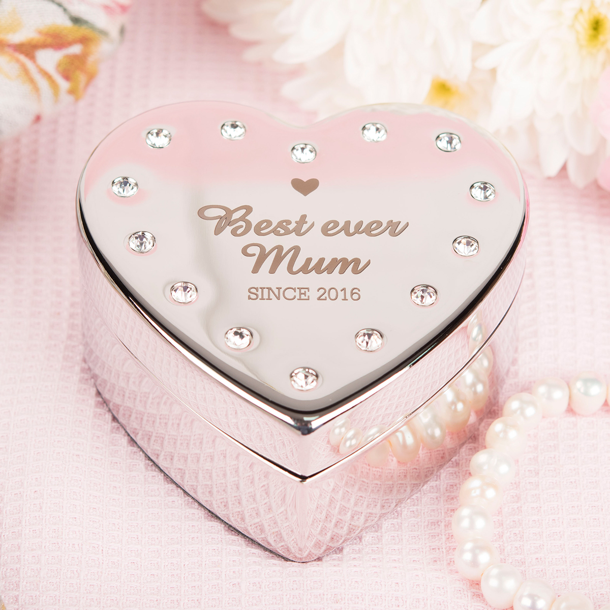Bargain Engraved Diamanté Heart-Shaped Jewellery Box - Best Ever Mum Stockists