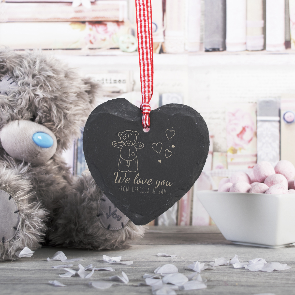 Bargain Engraved Me To You Heart Shaped Slate Hanging Keepsake - Love Stockists