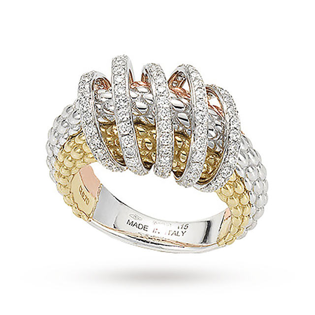 Bargain FOPE 18ct Three Colour Solo Mialuce 0.70ct Diamond Ring - Ring Size P Stockists