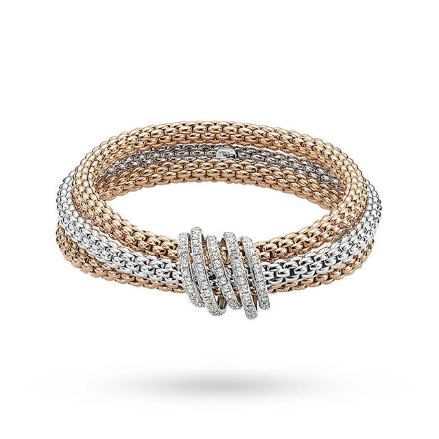 Bargain FOPE 18ct Three Colour Solo Mialuce Flex'It 0.43ct Diamond Bracelet Stockists