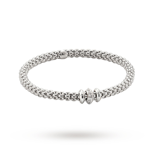 Bargain FOPE 18ct White Gold Solo Flex'It 0.17ct Diamond Bracelet Stockists