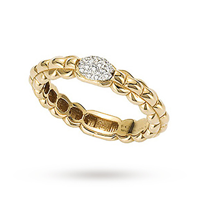 Bargain FOPE 18ct Yellow Gold Eka Tiny 0.10ct Pave Diamond Ring - Ring Size P Stockists