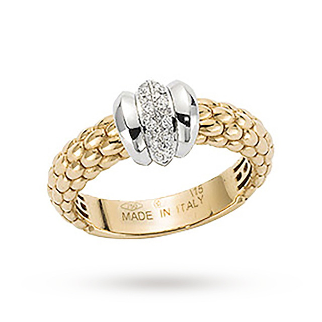Bargain FOPE 18ct Yellow Gold Solo 0.10ct Diamond Ring - Ring Size L Stockists