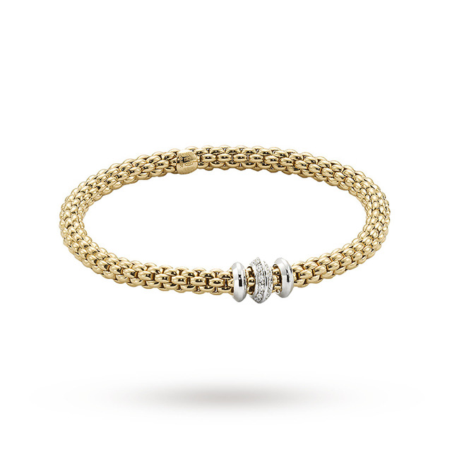 Bargain FOPE 18ct Yellow Gold Solo Flex'It 0.17ct Diamond Bracelet Stockists