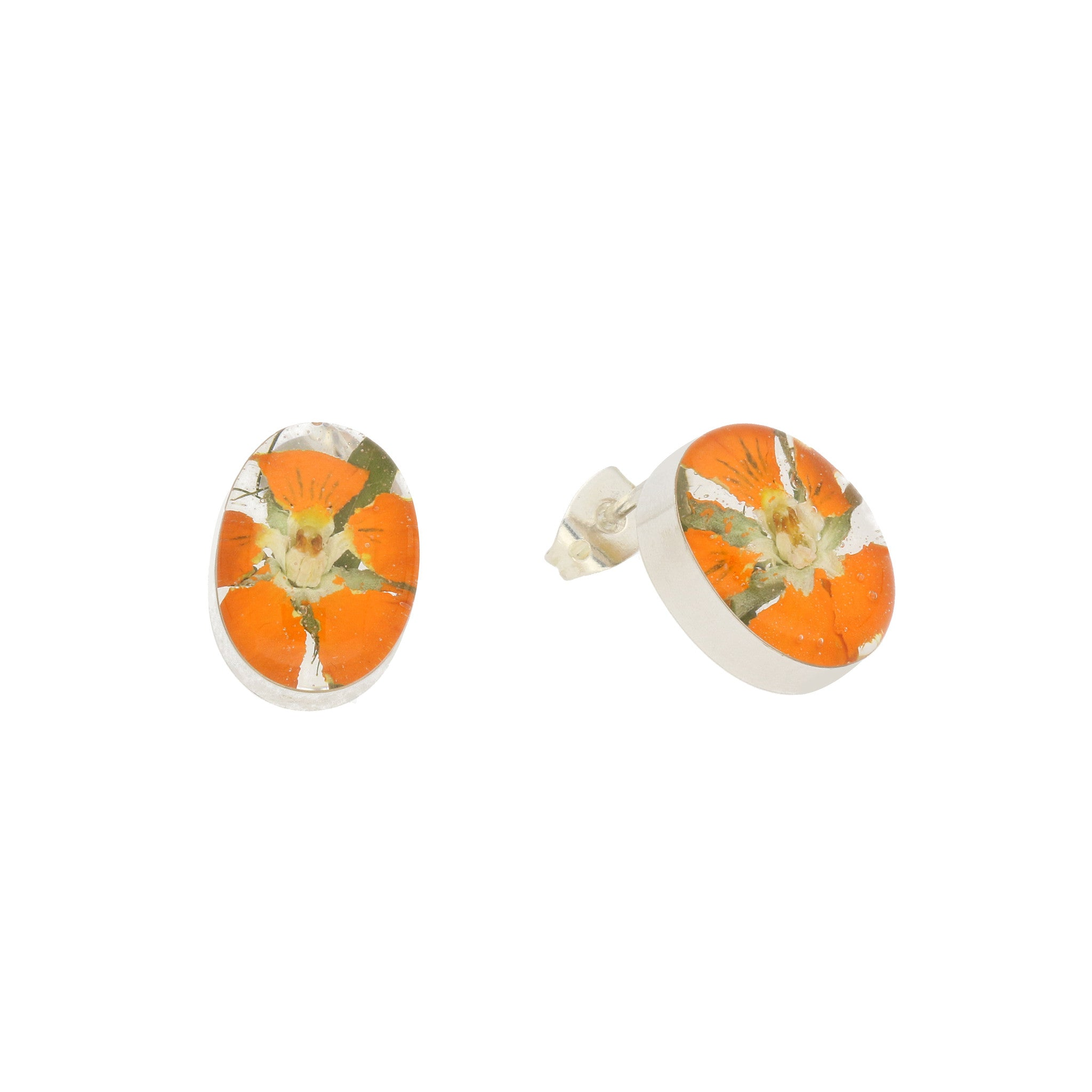 Bargain Floral Earrings Orange Oval Stud Silver Small Stockists