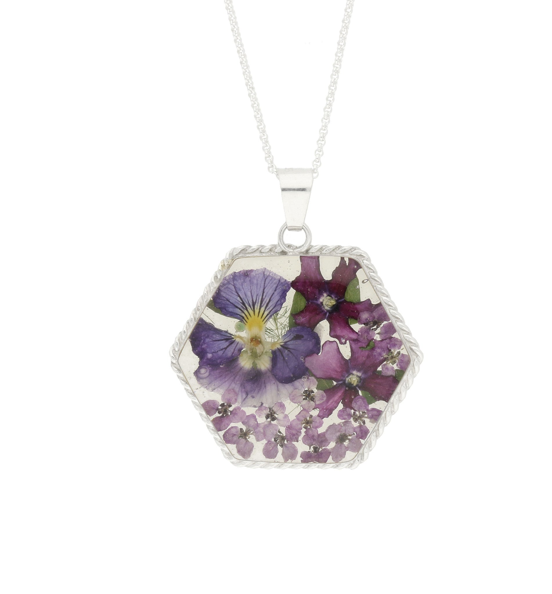 Bargain Floral Necklace Blue & Purple Hexagon Silver Large Stockists