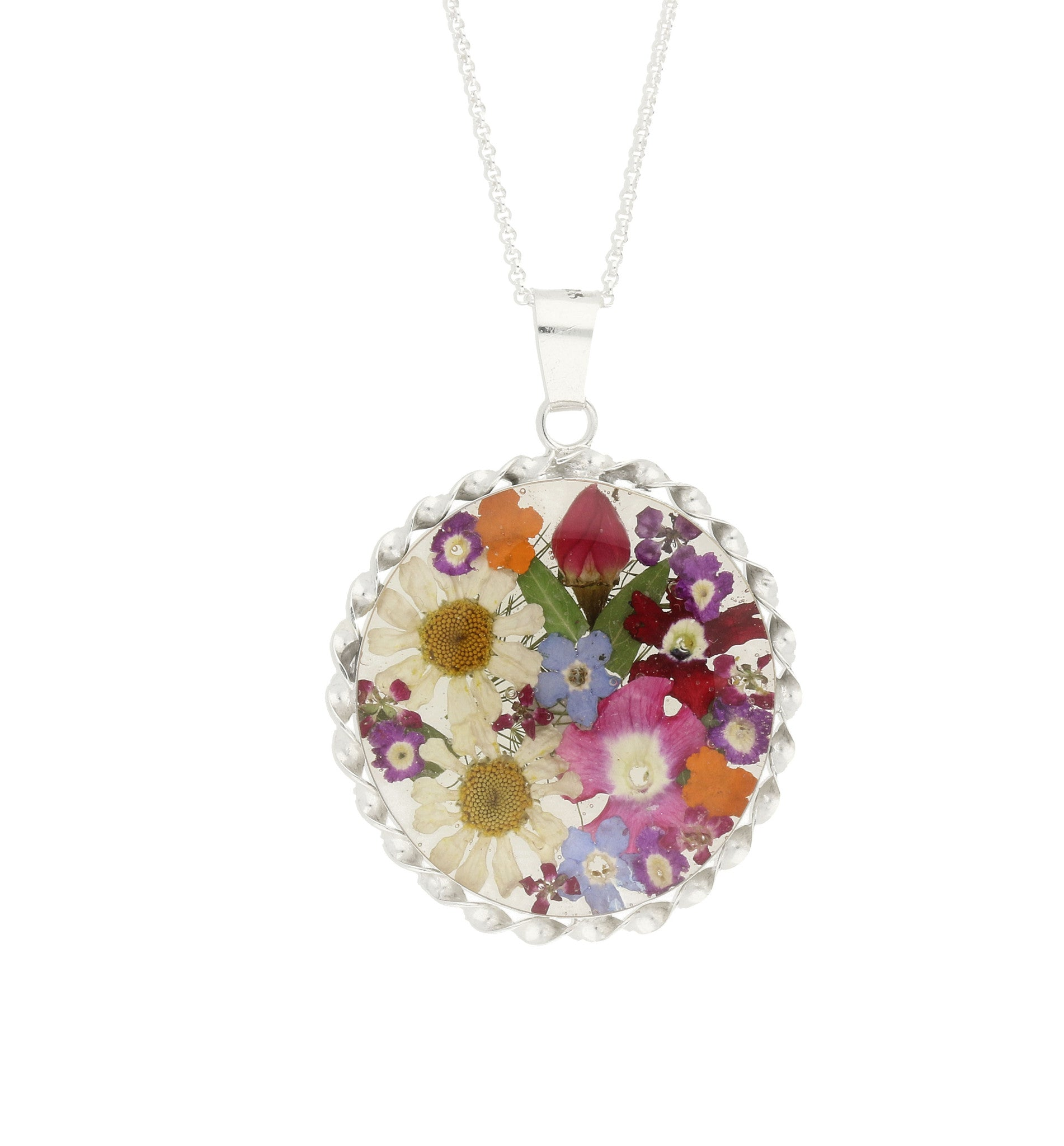 Bargain Floral Necklace Mixed Colours Round Silver Large Stockists