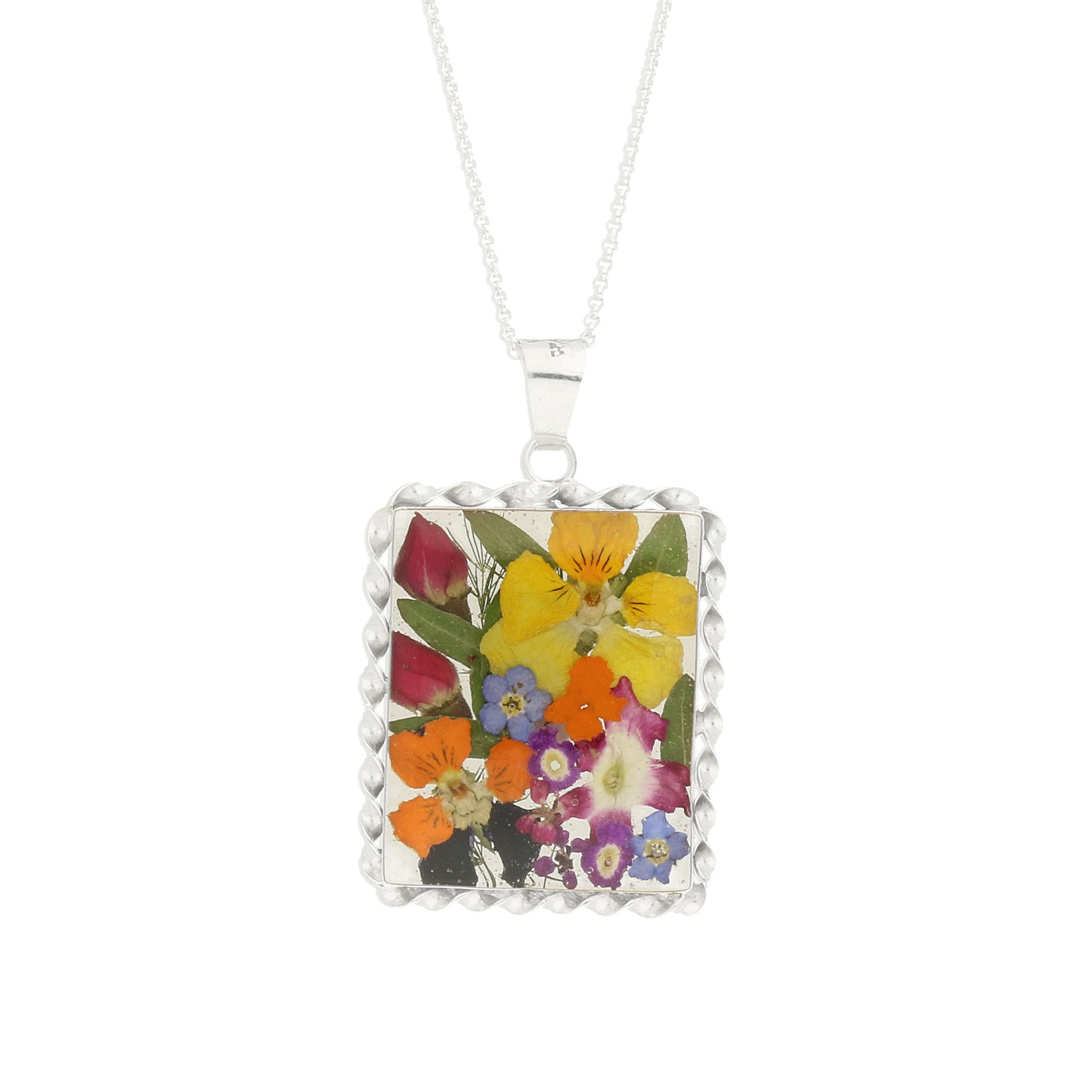 Bargain Floral Necklace Mixed Rectangle Silver Large Stockists