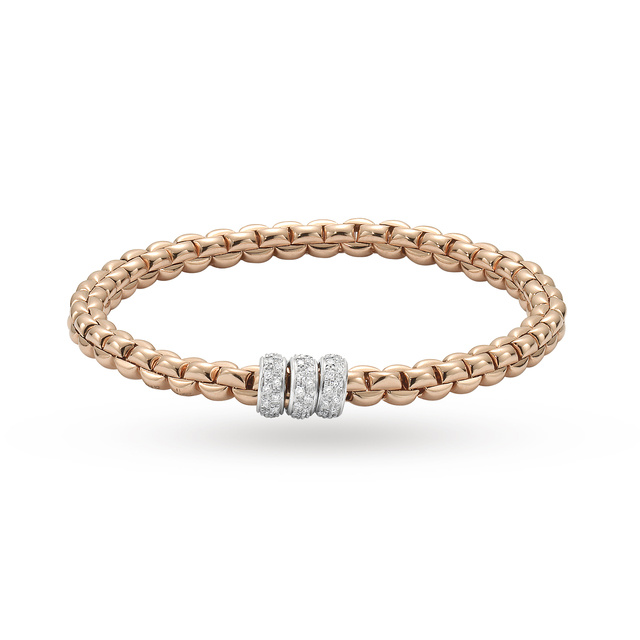 Bargain Fope 18ct Rose Gold Exclusive Flex'It Olly 0.50ct Diamond Bracelet Stockists