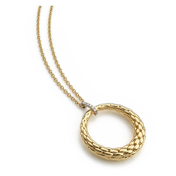 Bargain Fope Lovely Daisy 18ct Yellow Gold 0.04ct Diamond Open Circle Necklace Stockists