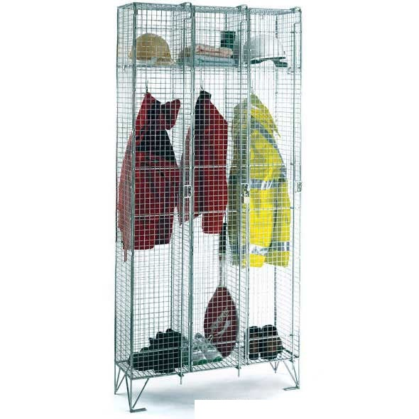 Bargain Full Height Wire Mesh Lockers with 2 Doors   Nest of 3 305w x 457d Stockists