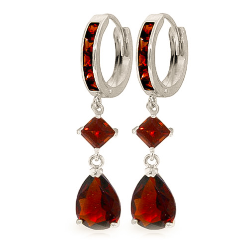Bargain Garnet Droplet Huggie Earrings 5.62ctw in 9ct White Gold Stockists
