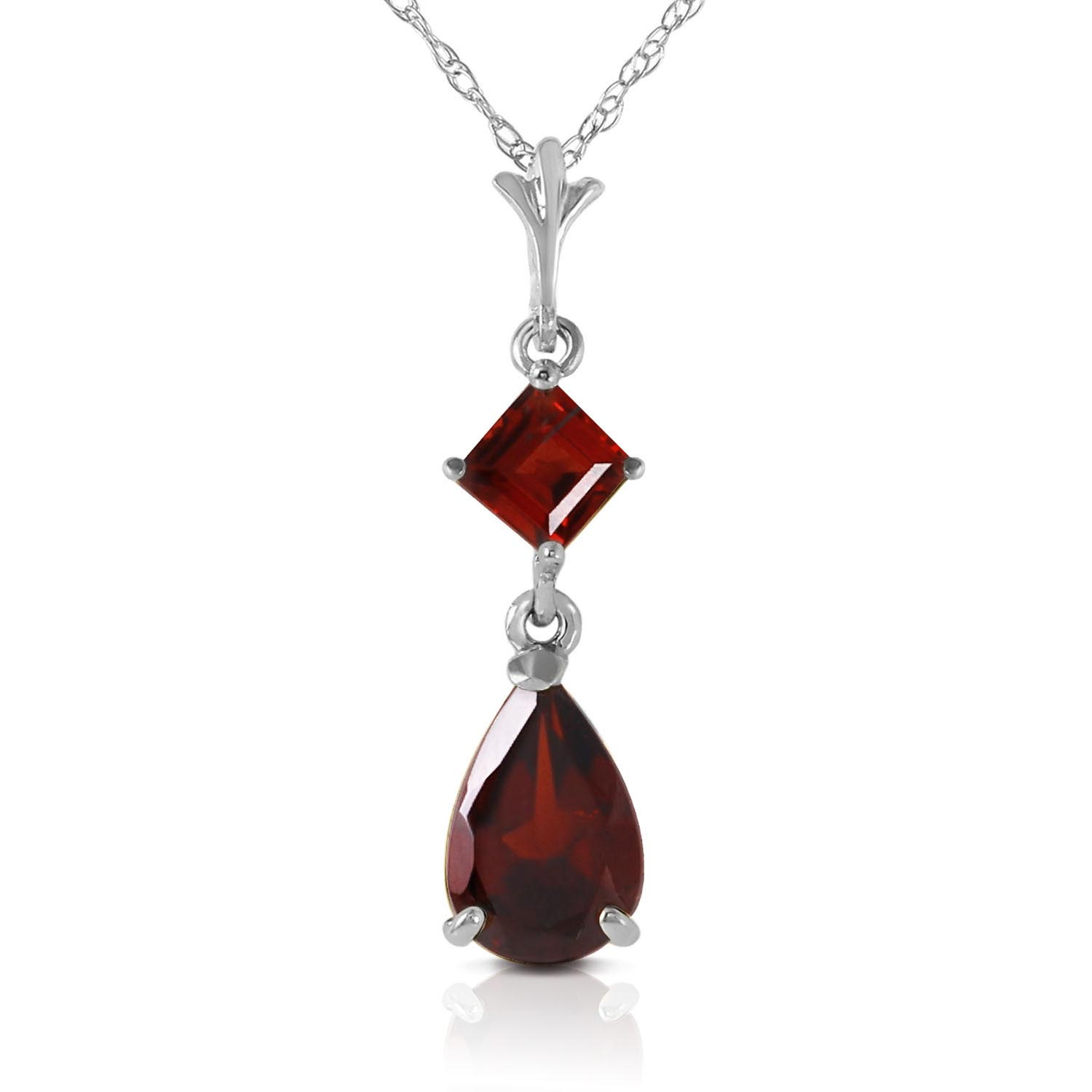 Bargain Garnet Droplet Pendant Necklace 2.0ctw in 9ct White Gold Stockists