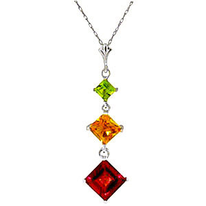 Bargain Garnet, Peridot and Citrine Three Stone Pendant Necklace 2.4ctw in 9ct White Gold Stockists