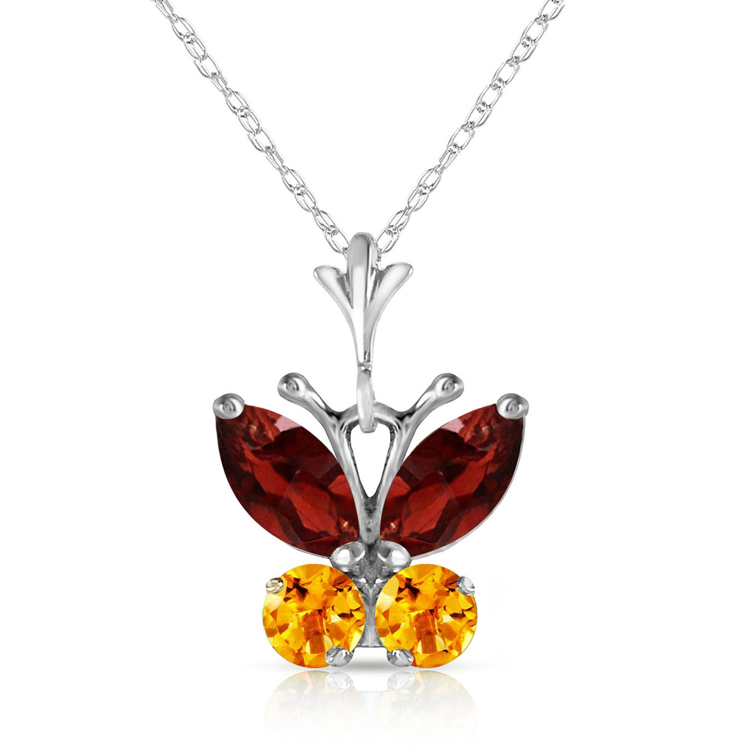 Bargain Garnet and Citrine Butterfly Pendant Necklace 0.6ctw in 9ct White Gold Stockists