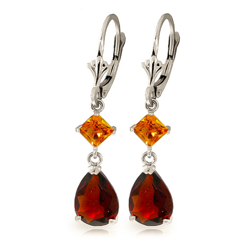 Bargain Garnet and Citrine Droplet Earrings 4.5ctw in 9ct White Gold Stockists
